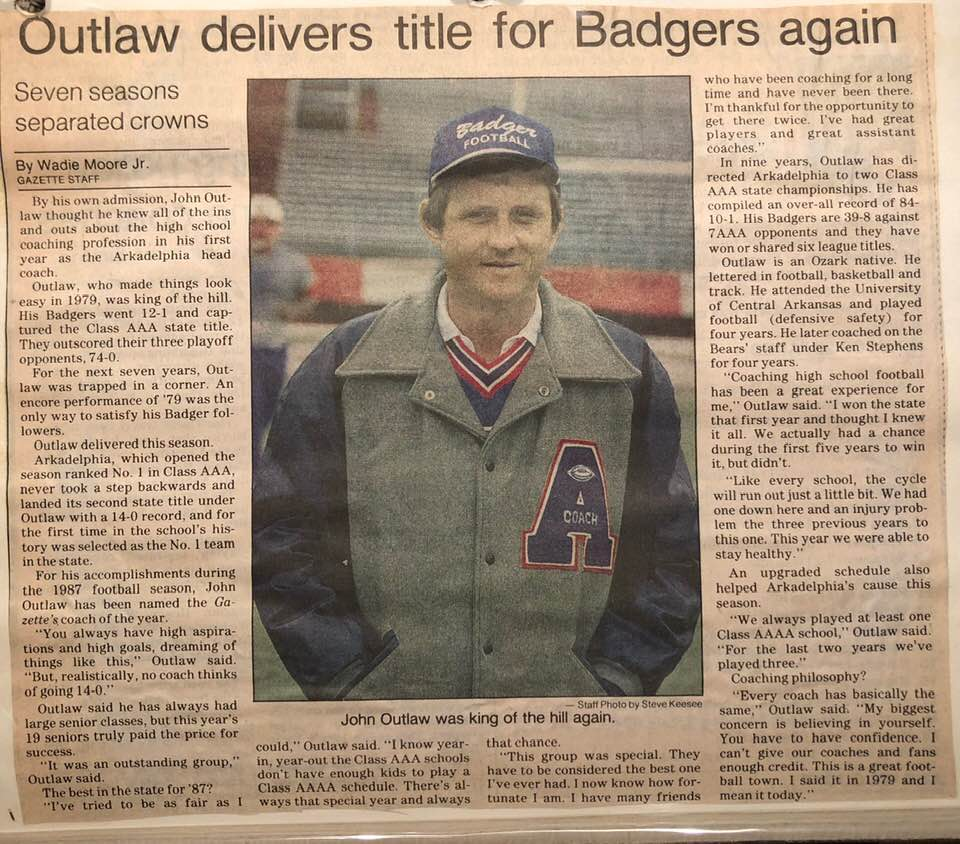 "A special thanks goes out to Chris Webb for posting these old news clippings on social media. I remember ""Coach Webb"" being the coach you wanted to run through a brick wall for in 7th grade football."