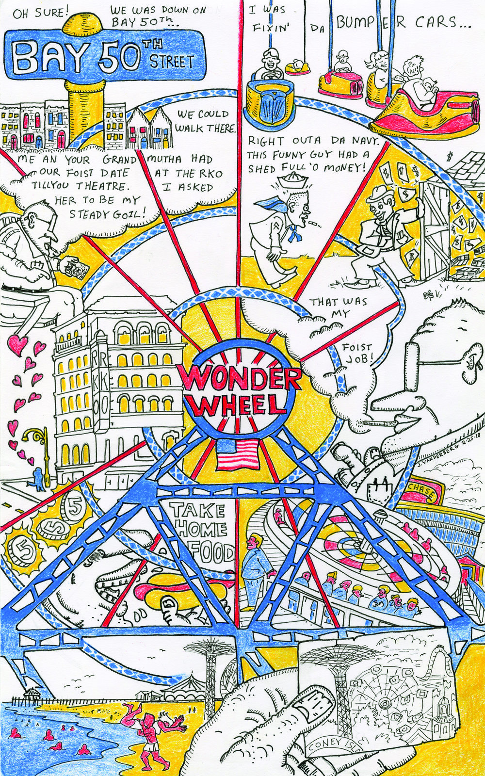 John, Carmela and The Wonder Wheel - A broadside for Smoke Signal's all Coney Island Issue.