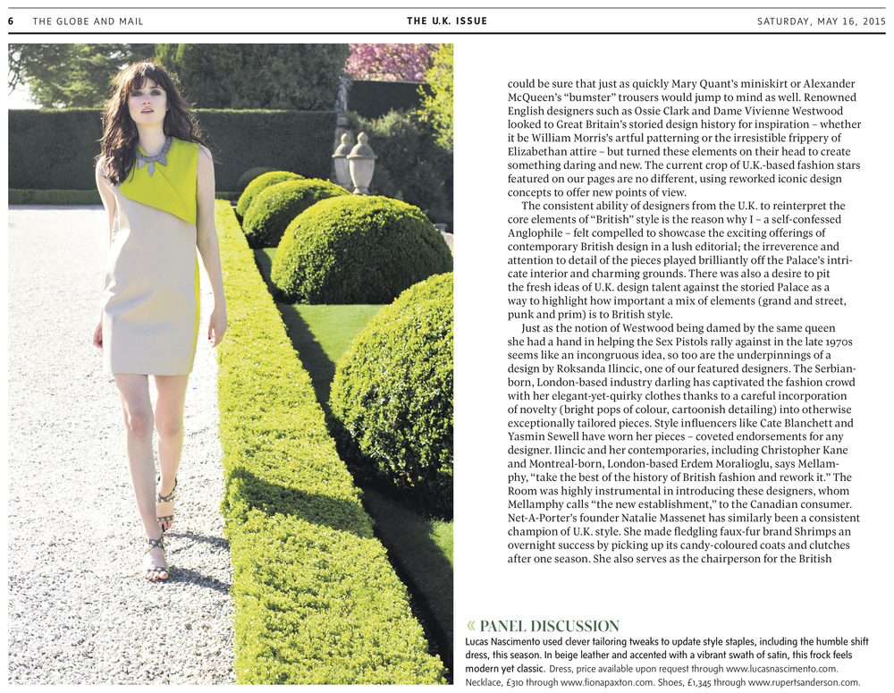Mark Binks is a fashion and portrait photographer base in Toronto. Image appeared in The Globe and Mail.