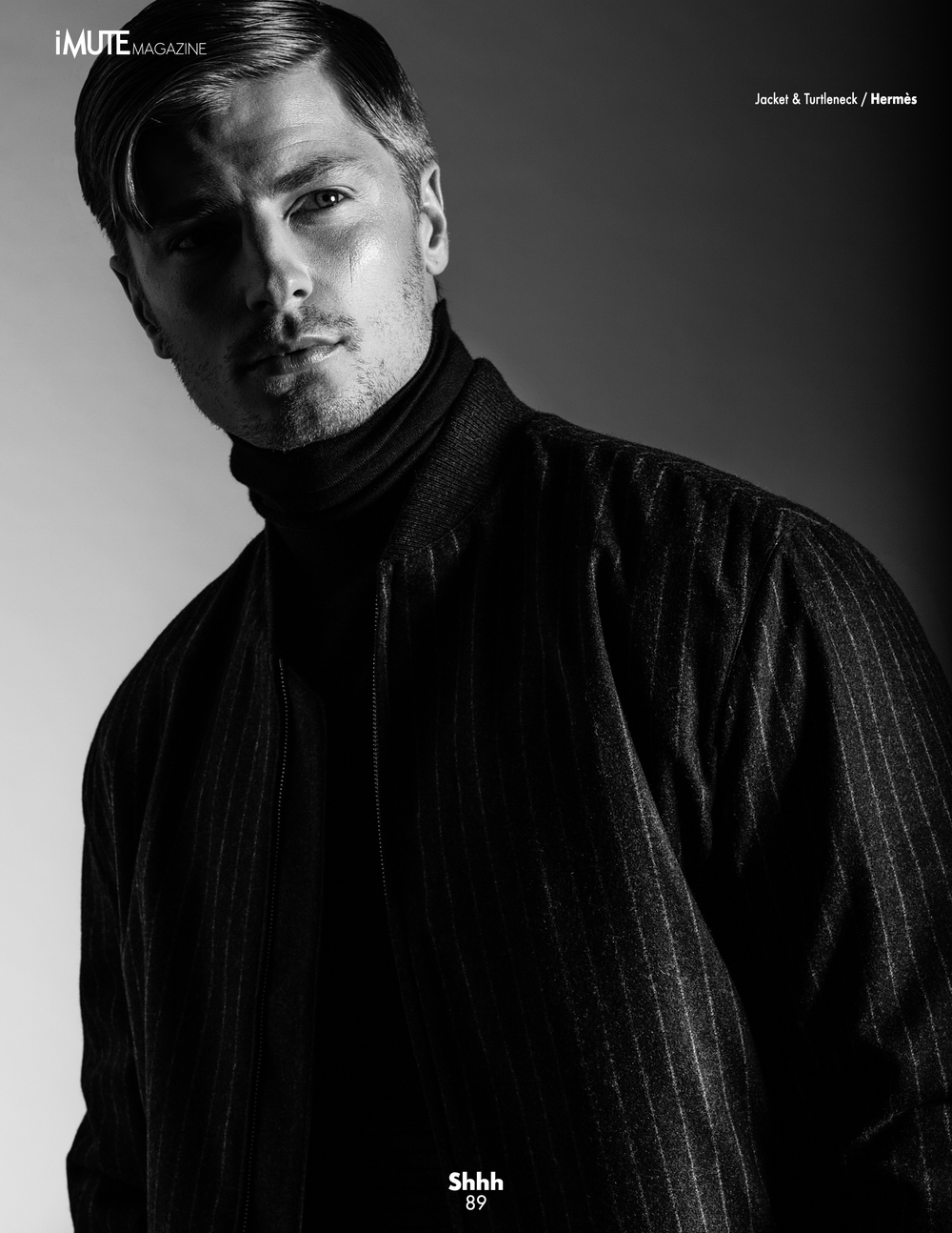 Mark Binks is a fashion and portrait photographer based in Toronto. Image appeared on http://imutemagazine.com/ men's editorial photography black and white