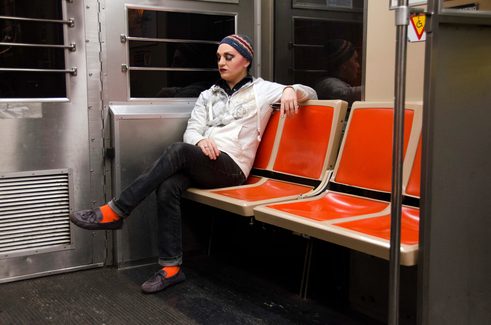 Tim Johnson, dressed as Stella D'Oro, takes the Broad Street Line subway to a drag gig on February 23, 2014.