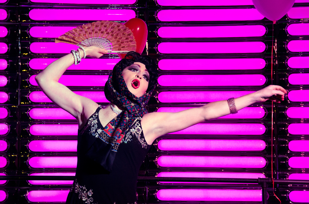 Tim Johnson performs drag as Stella D'Oro at Woody's nightclub on February 16, 2014.
