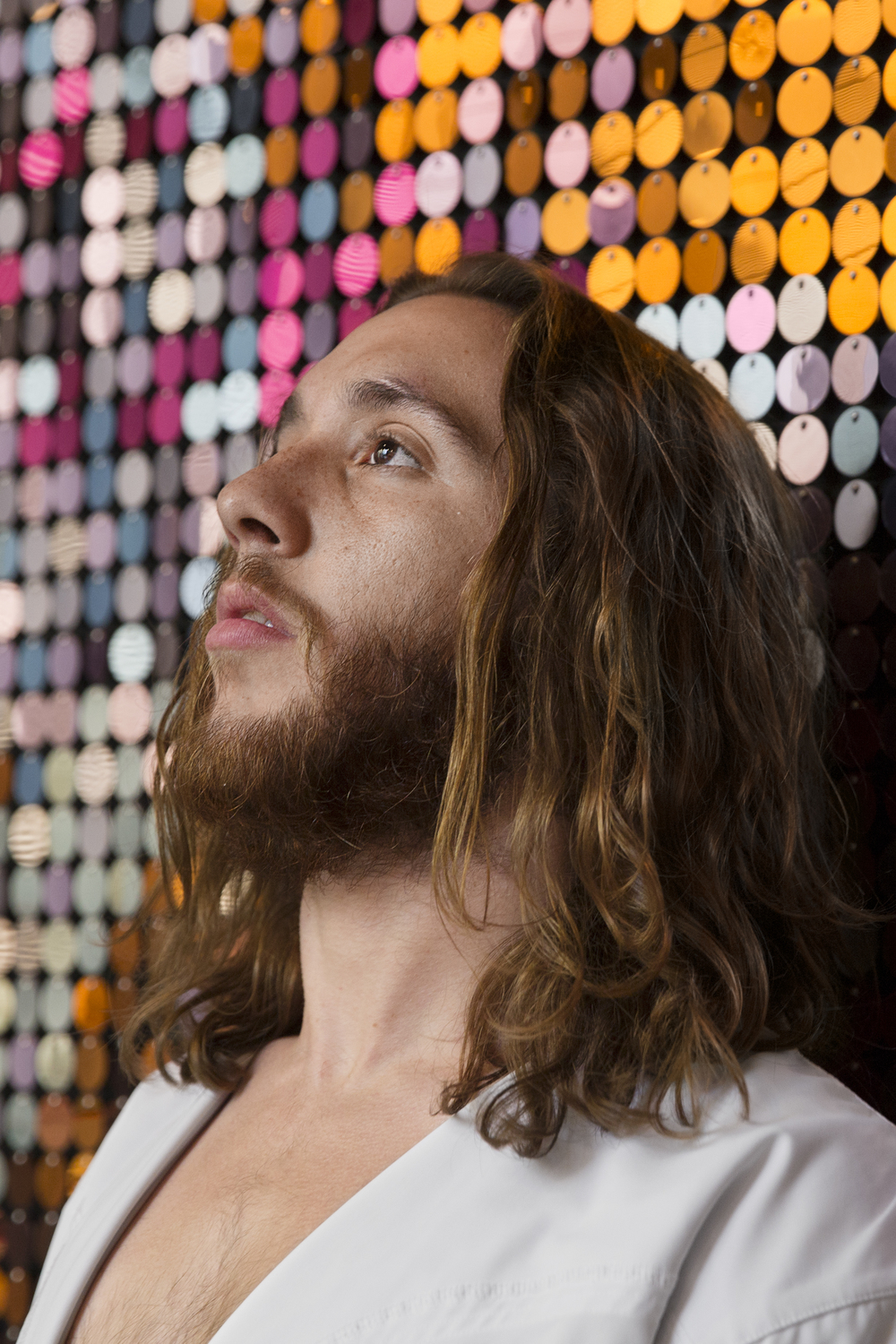 """Michael """"Philly Jesus"""" Grant poses for a portrait in the Kimmel Center on May 13, 2015."""