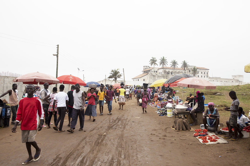 The market before Elmina Castle (which you can actually see, in the distance)
