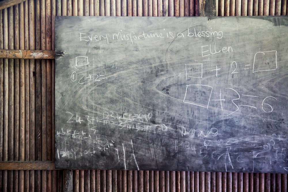 Words of wisdom found on an Nzulezo classroom chalk board...