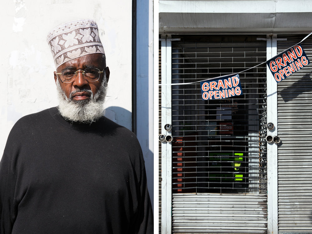 "(Left) Shahdeed, 52, at 52nd & Chestnut. Shandeed contributes ""the ethics of hard work, dignity, and honor."""