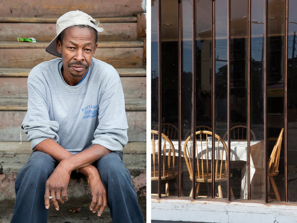 "(Left) Alfred at 52nd & Funston. Alfred contributes by building houses. He says ""I'm a hell of a carpenter."""