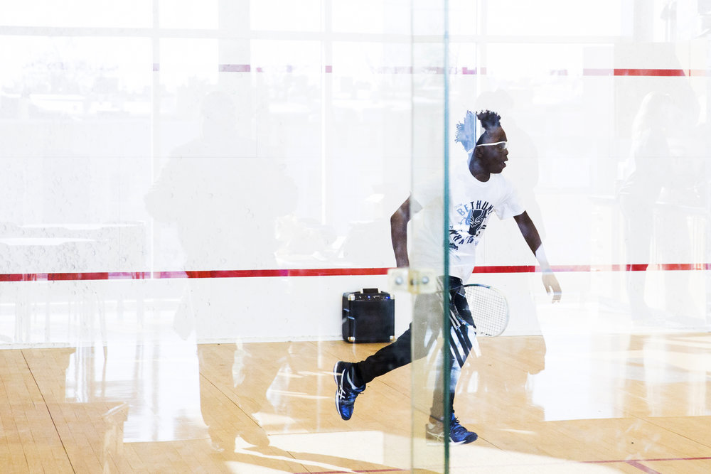 Jaydin Robinson, 13, practices squash at the Lenfest Center in North Philadelphia on March 10. Jaydin has been attending SquashSmarts for three years and is currently ranked as the program's best middle school player.