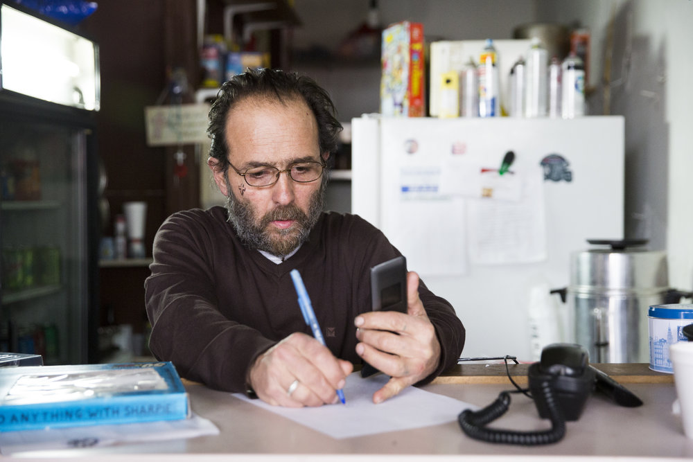 The Last Stop owner Eddie Zampitella makes a phone call about his court case on February 17, 2019. Zampitella currently faces a $1.7 million lawsuit for violating zoning restrictions.