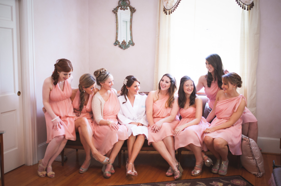 A photo of real life bridesmaids in various  Little Borrowed Dress  options.