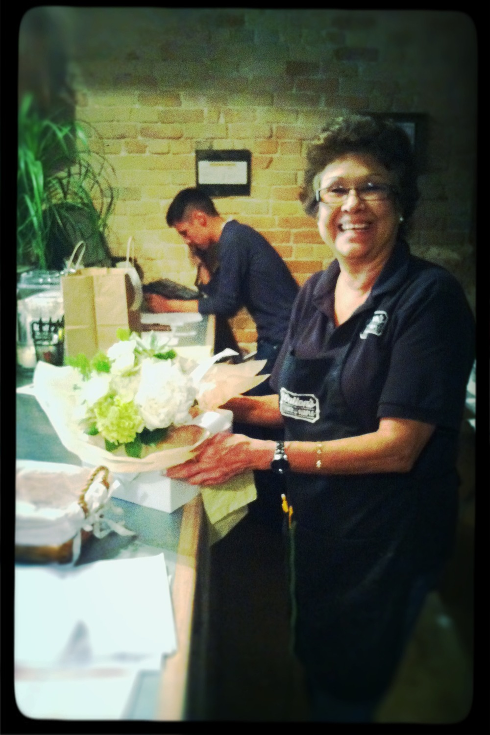 This nice lady saved our bacon!  (At Walton's Fancy & Staple)