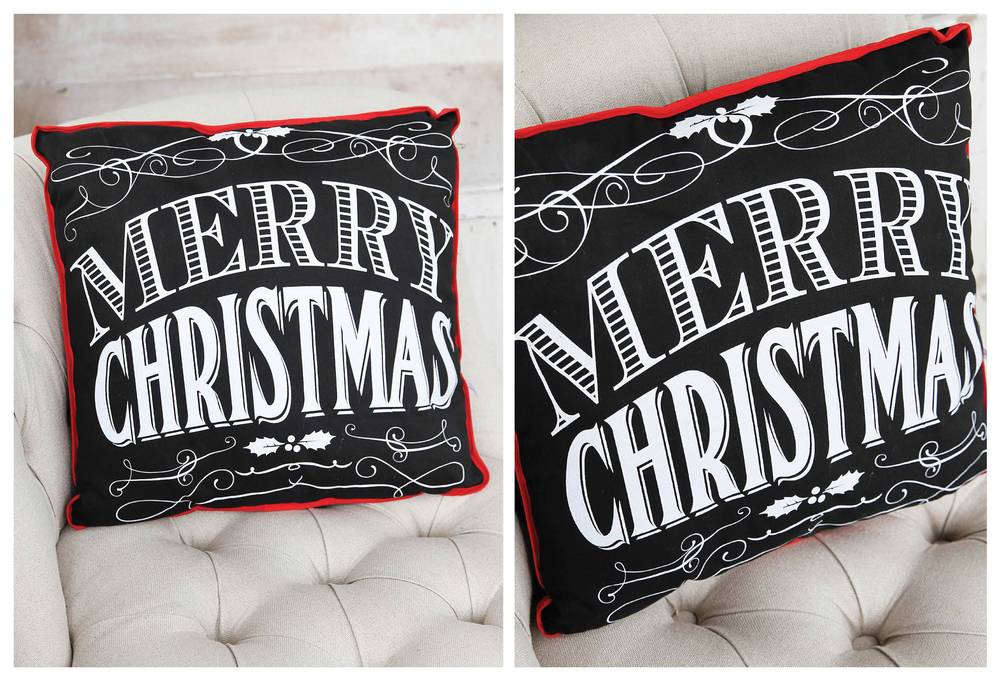 Black & White Merry Christmas Pillow