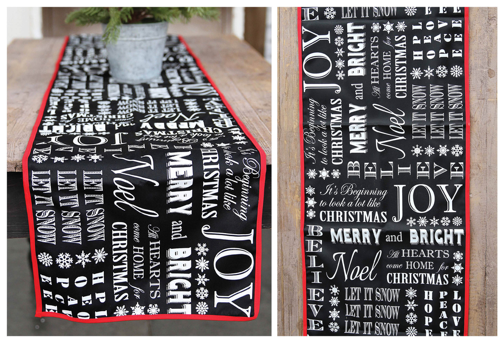 Subway Art Christmas Words Table Runner