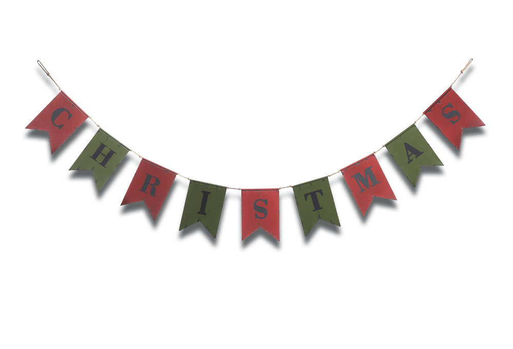 Red & Green Metal Christmas Banner
