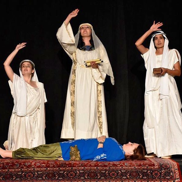 Cerimon (Cristi Bocci) and the Priestesses of Ephesus (Jane Goldsmith and Jann Fratis) bring the mostly dead Thaisa (Caitlin Lawrence Papp) back to life. Cerimon is like Miracle Max from The Princess Bride. Come see Pericles!! Tonight! 8pm. #mostlydead #slightlyalive #Shakespeare #PericlesFTE #fteshakes