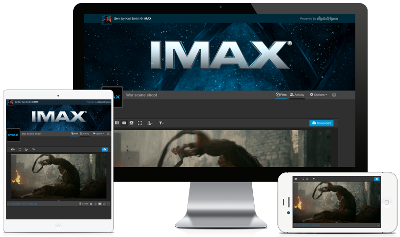 Sample of new download page designs with custom branding on multiple devices.