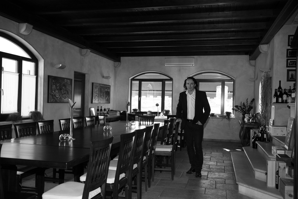Marjan Simčič in his tasting room