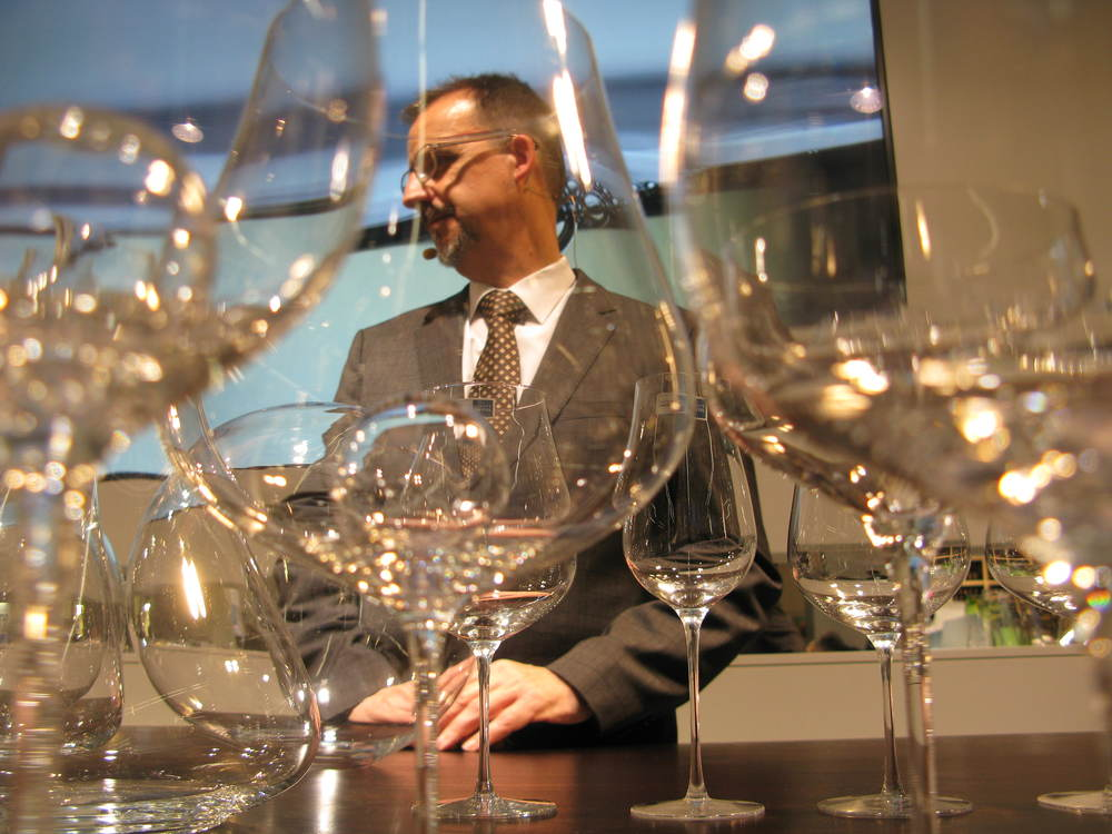 German sommelier Alexander Kohnen told  ywine.press that, with the Air Sense glasses, you don't need a decanter. They also mix and match with the cheaper machine-made Air glasses. Photos: Chris Boiling