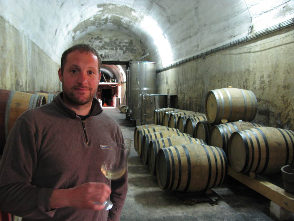 Dimitri Brečević is making natural wine in some watertanks that Mussolini had built at the foot of the hill supporting the historic town of Buzet