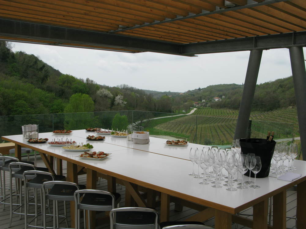 Tasting the wines on the terrace, looking down the valley