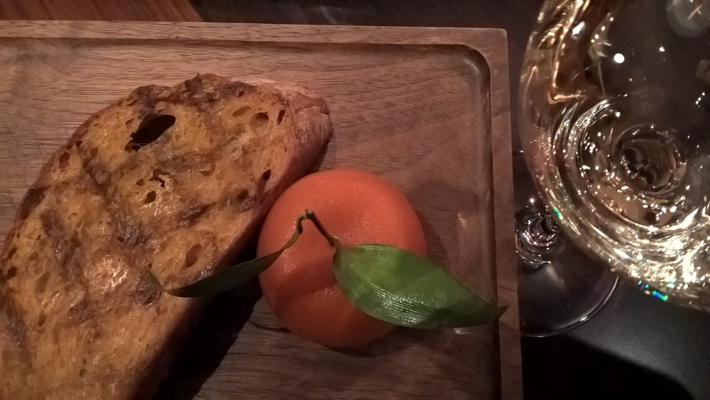 It may look like a mandarin but it's actually mandarin jelly covering a chicken liver mousse. This dish was inspired by one from c1500