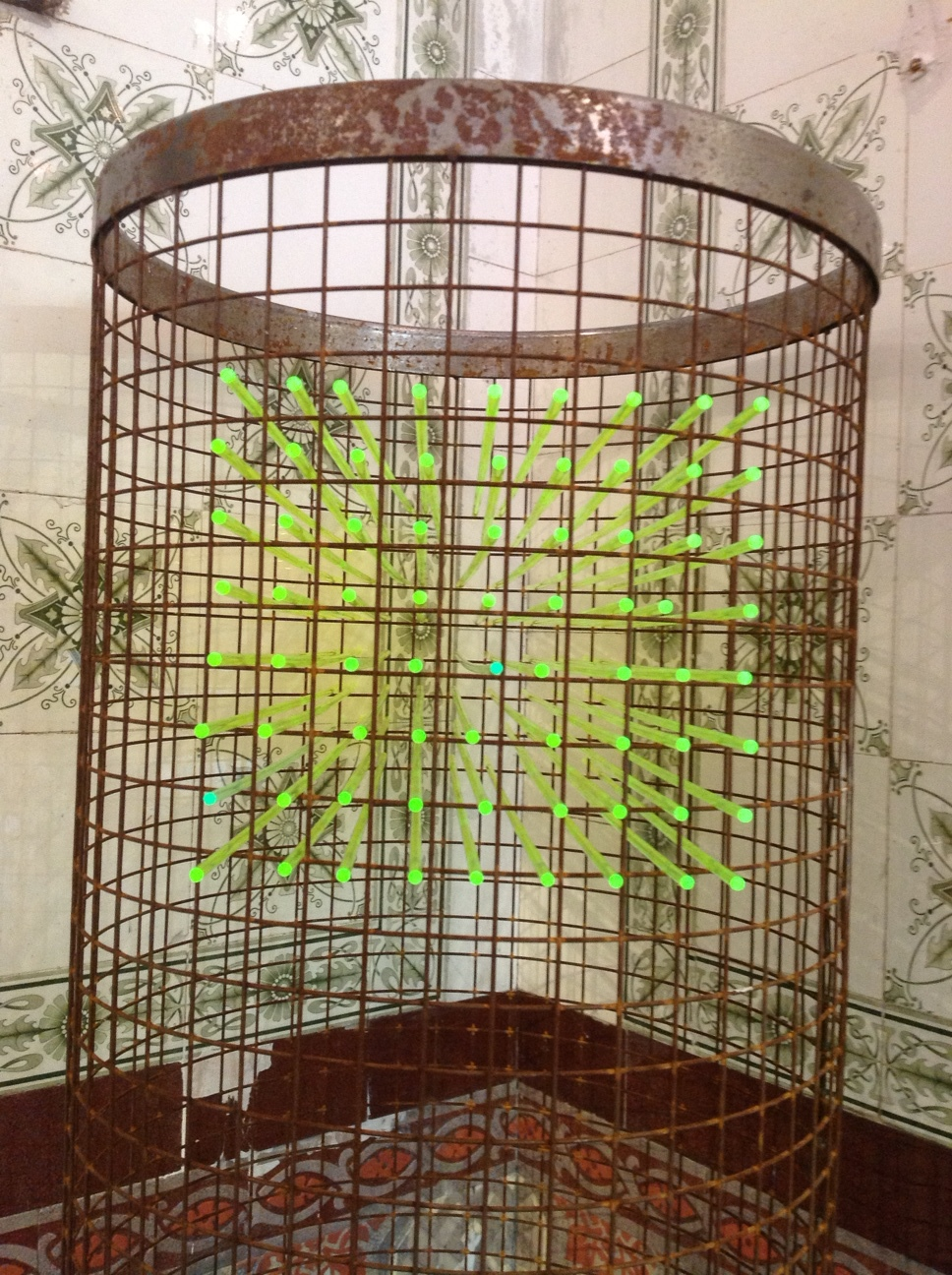 Neon- Steel Mesh and Light Transmitting Fluorescent Perspex Rods. June 2013