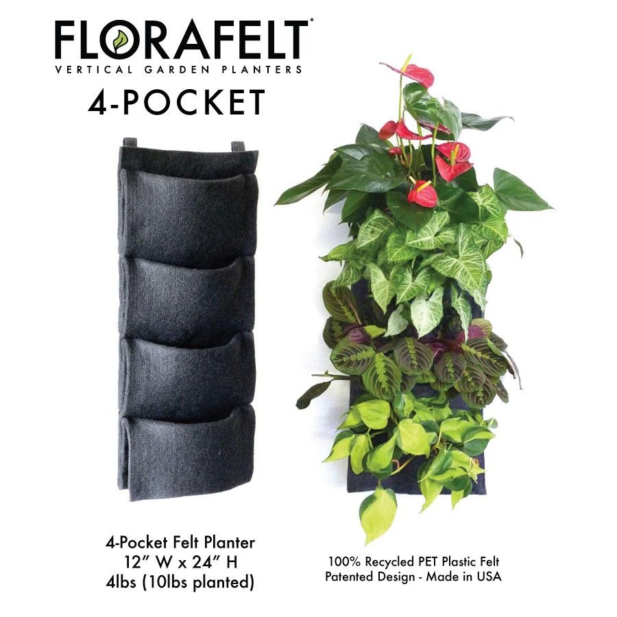 FloraFelt 4Pocket Vertical Garden Planter Edible Walls
