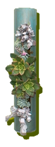 Patina Colored Succulent Cylinder