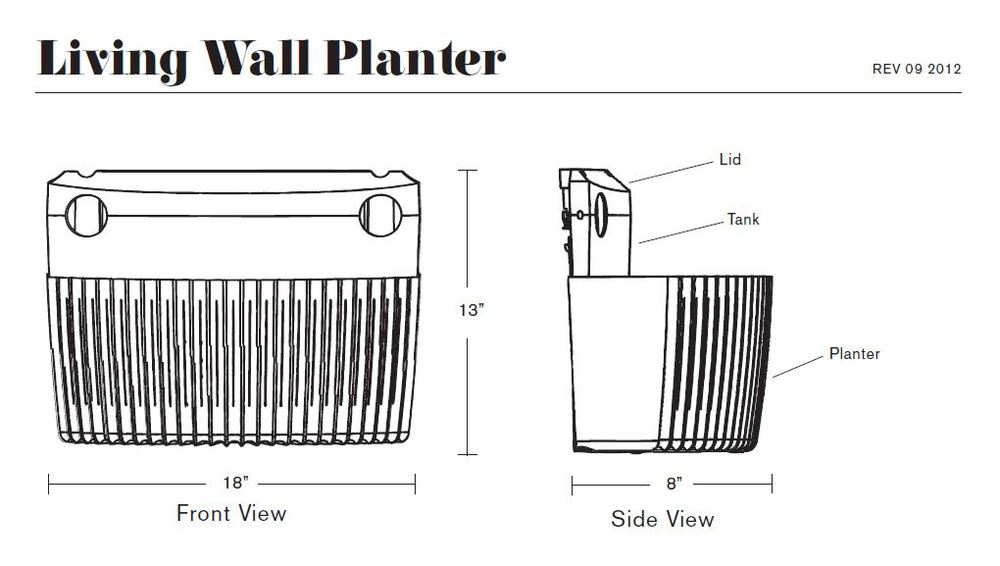 Living Wall Planter Specs