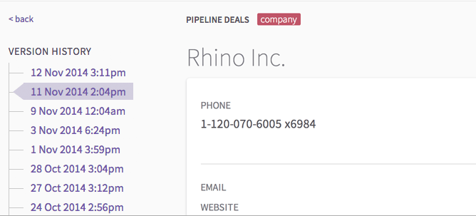 Revertlets you view version history of your PipelineDeals dataand revert to a past version