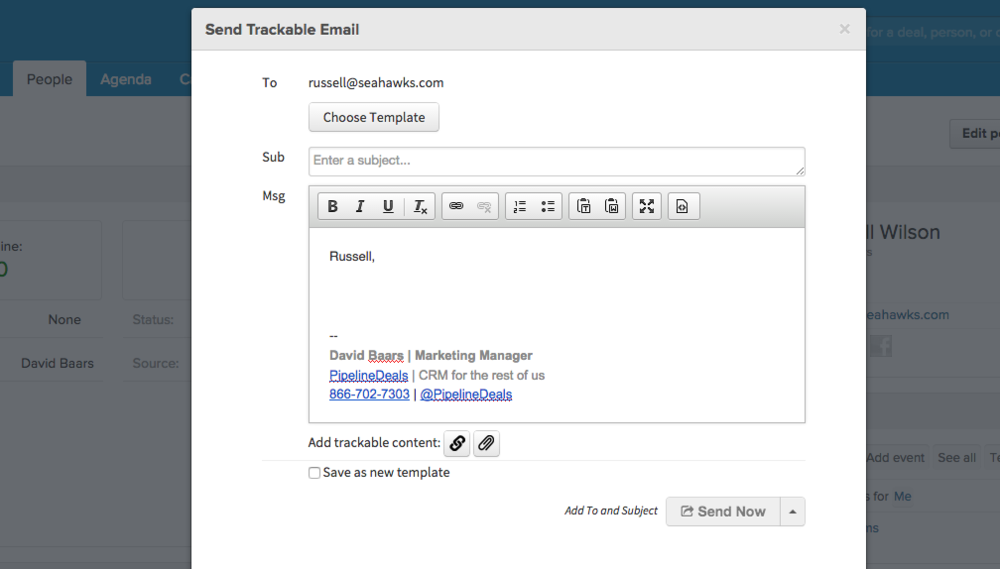 Send trackable emails to individuals or groups using PipelineDeals Accelerator