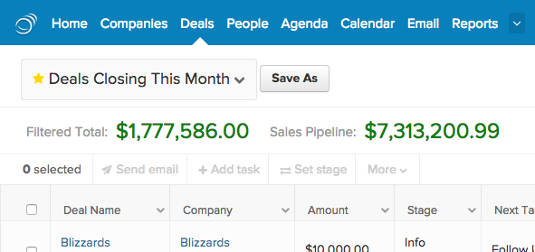 View your sales pipeline & filtered pipeline total at the top of the Deals tab.