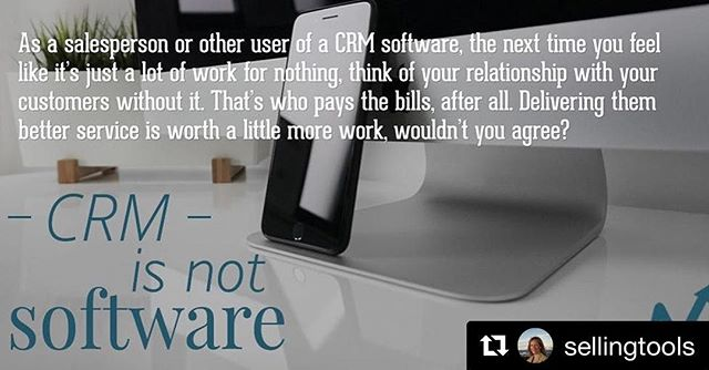 #Repost @sellingtools ・・・ ?on our Blog:  CRM is Not Software Click on Bio for Link  #crm #relationshipsmatter #salestech #pipelinedeals #guestpost