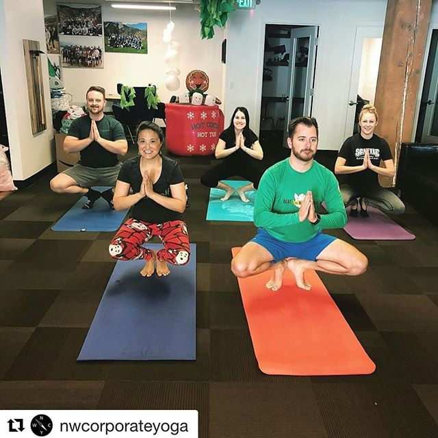 Thank you @nwcorporateyoga for teaching us the Christmas tree pose yesterday! ?