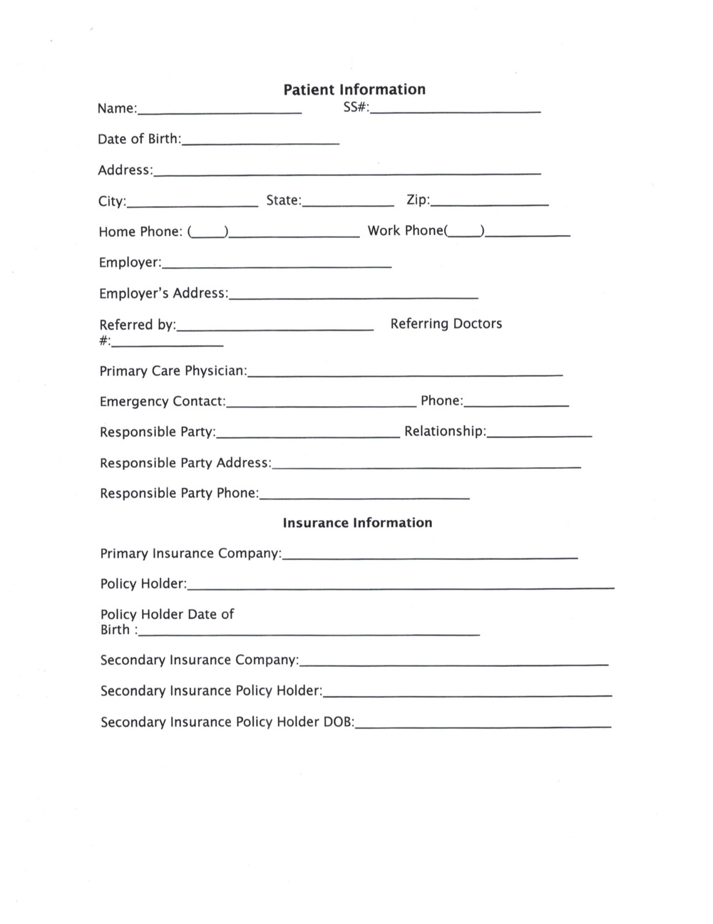 New Patient Information Forms