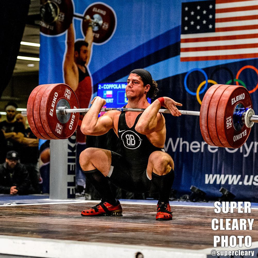 "The ""King"" Marco Coppola hitting a PR clean at about 407lbs --  Nikon D4, Nikon 70-200 2.8, 1/640th, f2.8 ISO 8000"