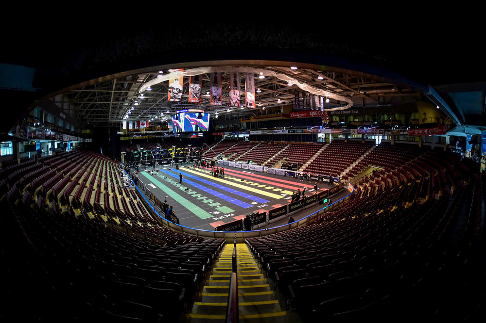 Pre-event establishing shot,  Nikon D4s, Sigma 15mm, 1/800th,   F2.8, ISO 6400,,  Copyright CrossFit, Inc 2016