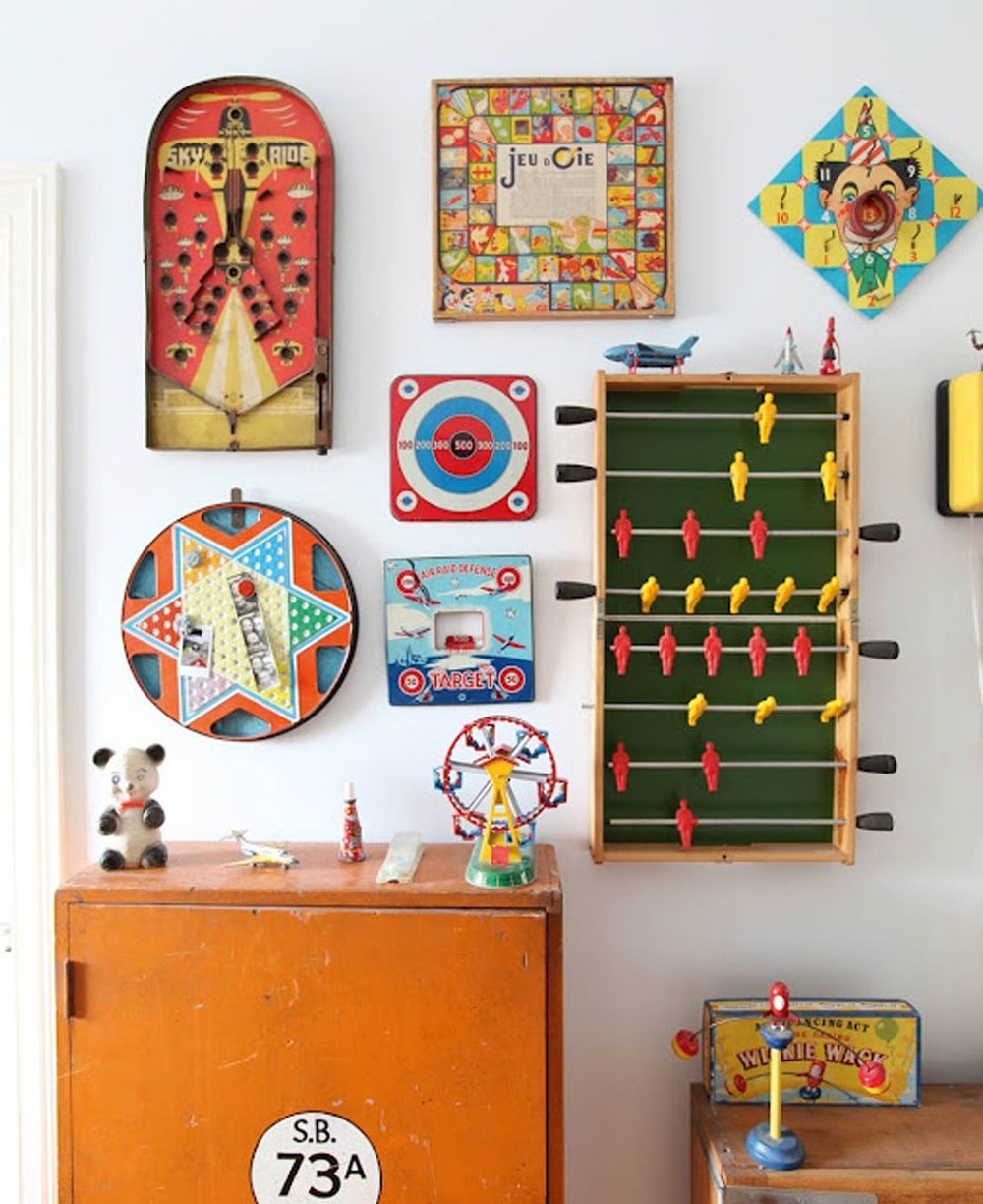 Collection of vintage game boards. (Photo by Natalie Jeffcott)