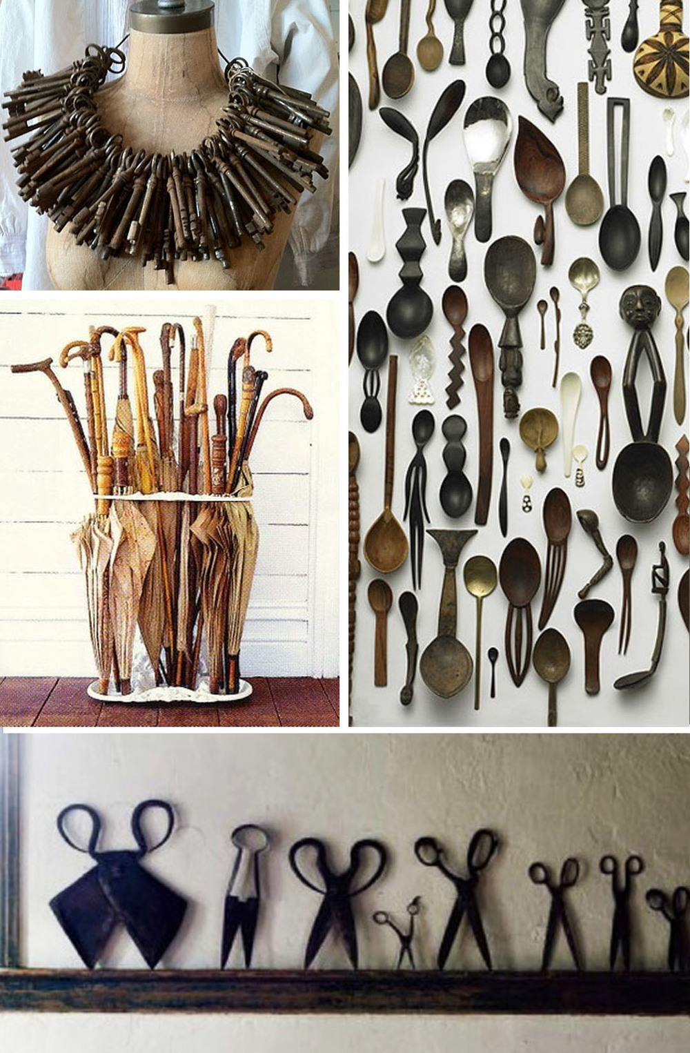 Collection of all sorts of antiques: Skelton keys, umbrellas, spoons and scissors.