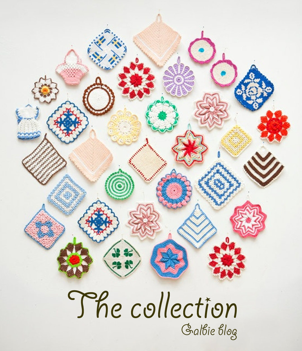 Collection of handmade crocheted potholders displayed by Fine Little Day in its Etsy shop