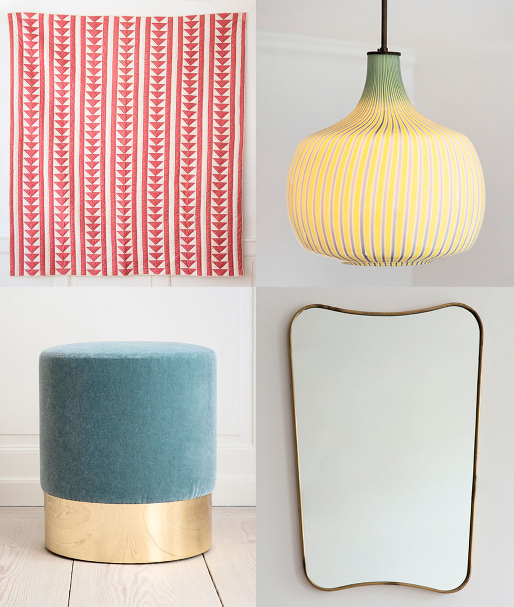 Clockwise: Ceiling lamp: Venini, 1950′s, Italy /Mirror: 1950′s, Italy / Stool:Azucena, Contemporary, Italy / Quilt: Vintage, USA