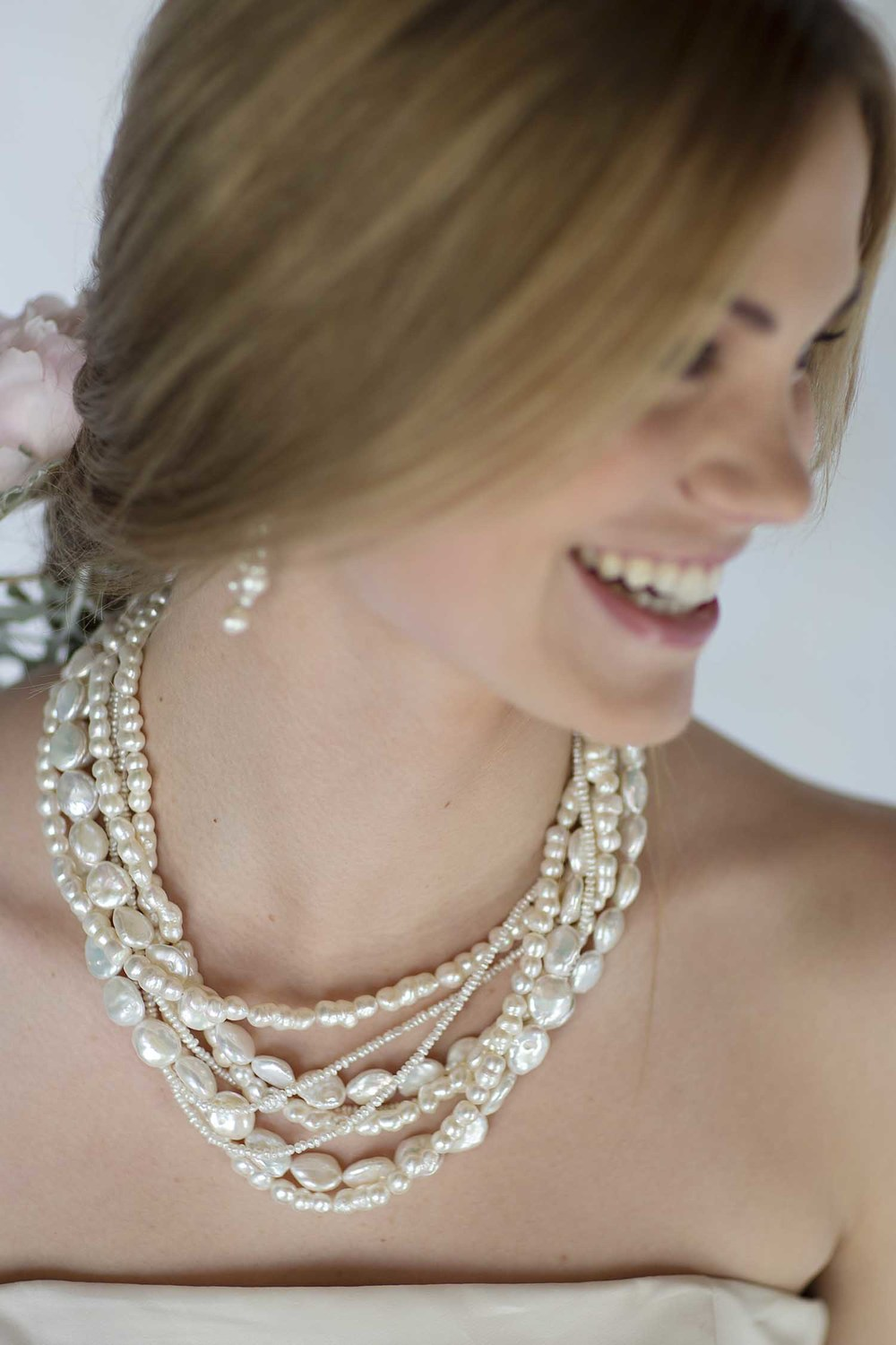 maine bridal jewelry. multi-strand freshwater pearl necklace.