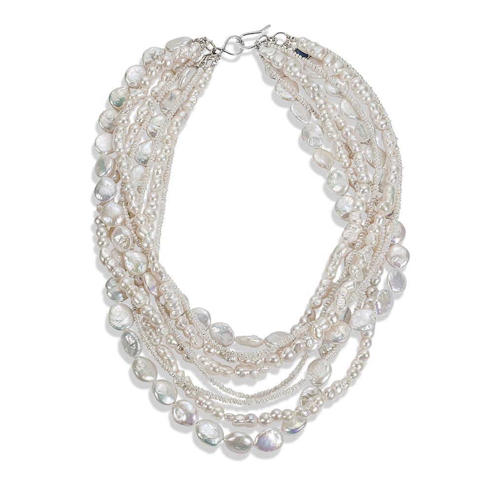 multi-strand freshwater pearl statement necklace. beautiful bridal accessory. handcrafted in maine.