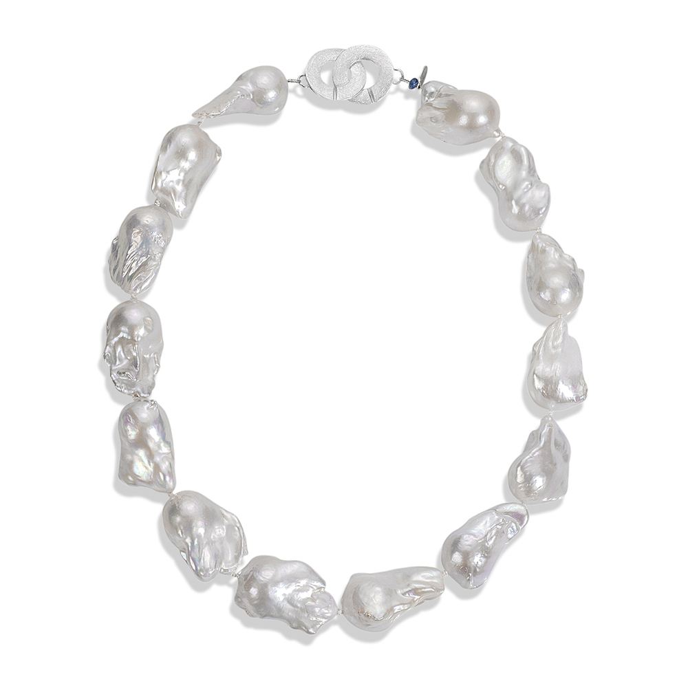 jumbo baroque freshwater pearl necklace. handcrafted in maine.