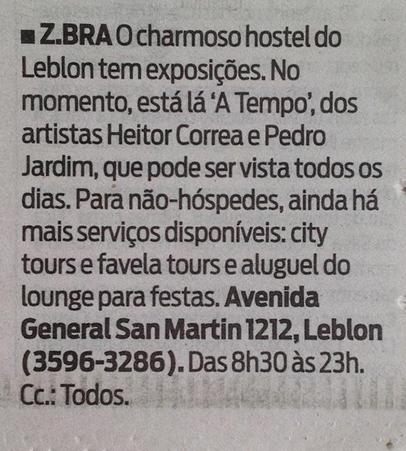 Nota sobre exposição Atempo do jornal O DIA no caderno GUIA em 5 de abril de 2013