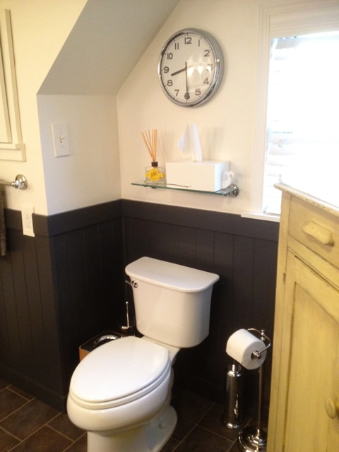 shiny new toilet, a gift from Rick's parents!
