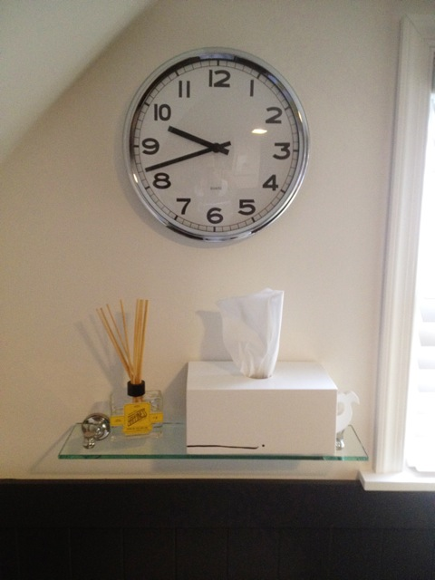whale tissue holder from Etsy, clock from IKEA, shelf from Lowe's