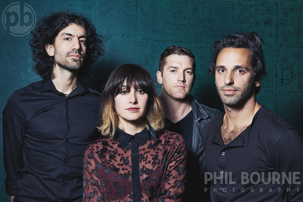 LONDON, UNITED KINGDOM - APRIL 2014: (EXCLUSIVE) Portrait of Howling Bells photographed in London in April 2014. L-R Gary Daines, Juanita Stein, Glenn Moule, Joel Stein. Photo by Phil Bourne