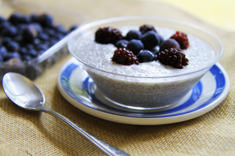 Chia seed pudding with fresh berries is a staple in our house.  High in protein and very little sugar, this makes for a great healthy dessert, or even a super easy breakfast!