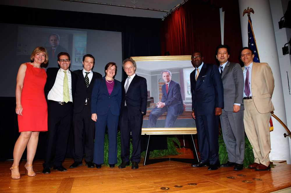 (left to right) Jeannie Forrest, Barry Friedman, Nicholas Bagley, Honorable Elena Kagan, Richard Revesz, Anthony Welters, Kenji Yoshino, Honorable Robert Katzman